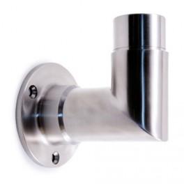 Support angulaire en tube inox pour fixer des poteaux en inox à l'anglaise.