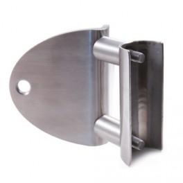 Platine d'angle fermé pour fixation latérale de poteaux en inox par vissage dans un demi tube