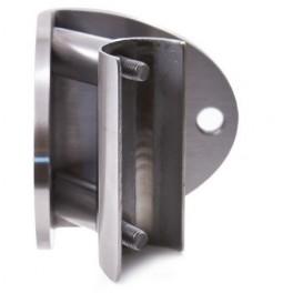 Platine d'angle ouvert pour fixation latérale de poteaux en inox par vissage dans un demi tube